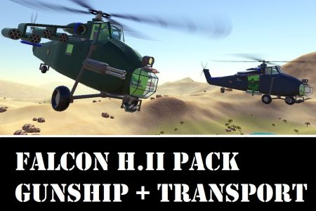 Falcon H.II Gunship + Transport Helicopter Pack [Re-mastered]